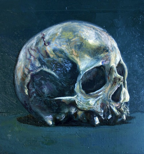 skull of a cannibal oil on king billy pine 35x38cm
