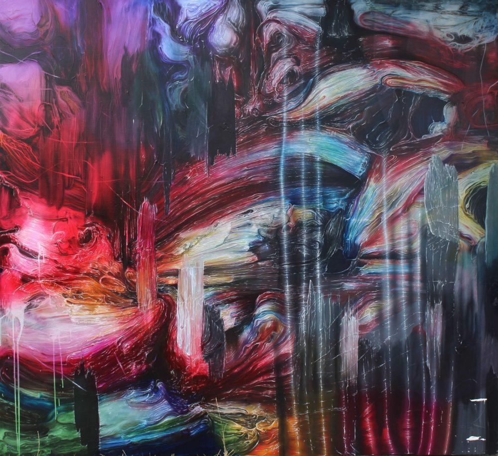 JOSH FOLEY  Underground, 2016 Oil and acrylic on linen 168 x 183 cm Signed verso $ 14.500