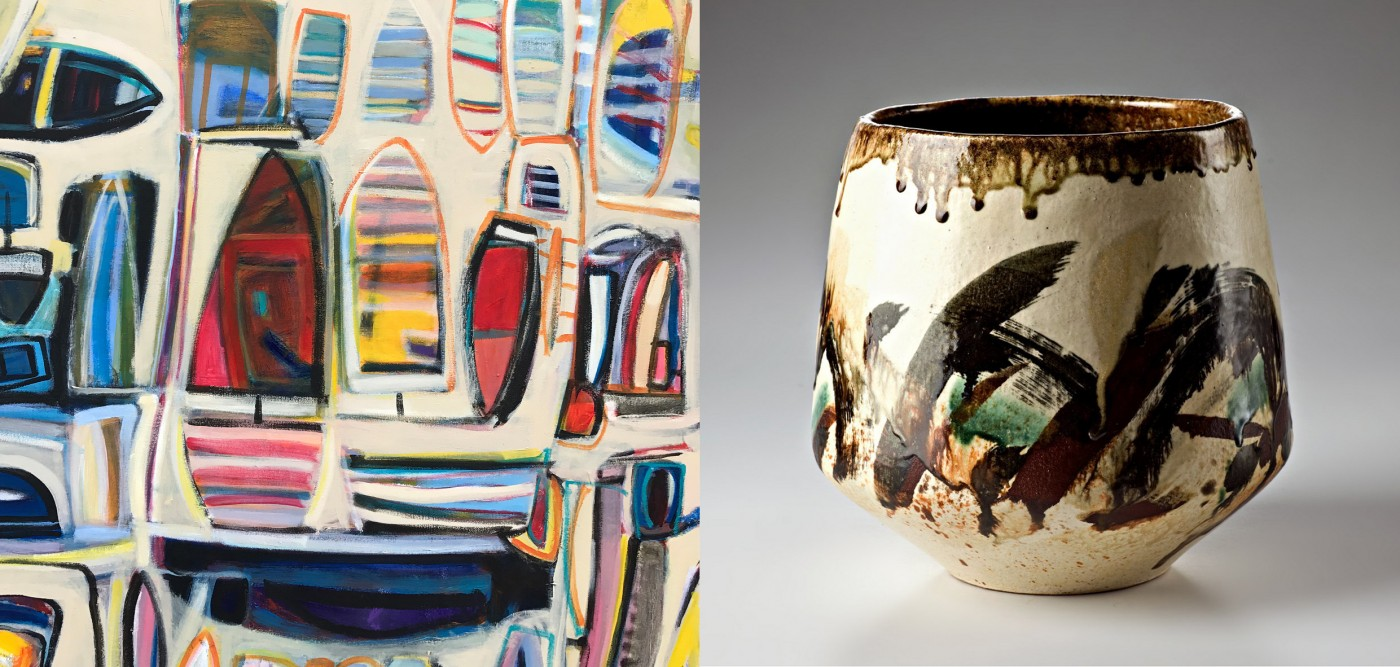 RIGHT: Anthea Boden,  Prince of Wales Bay, 2016, 107 x 107 cm, Acrylic on Canvas, signed LR LEFT: Jeff Mincham, Random Nature, 2016, High walled bowl Mid-fired, multi-glazed ceramic, 28 H x 28 D cm