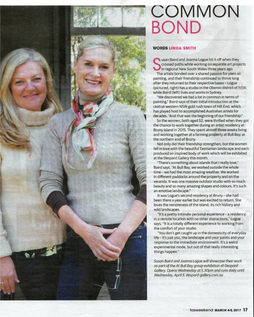 Mercury Article 4/5 March 2017, Joanna Logue and Susan Baird artists in residence at Bull Bay, Bruny Island
