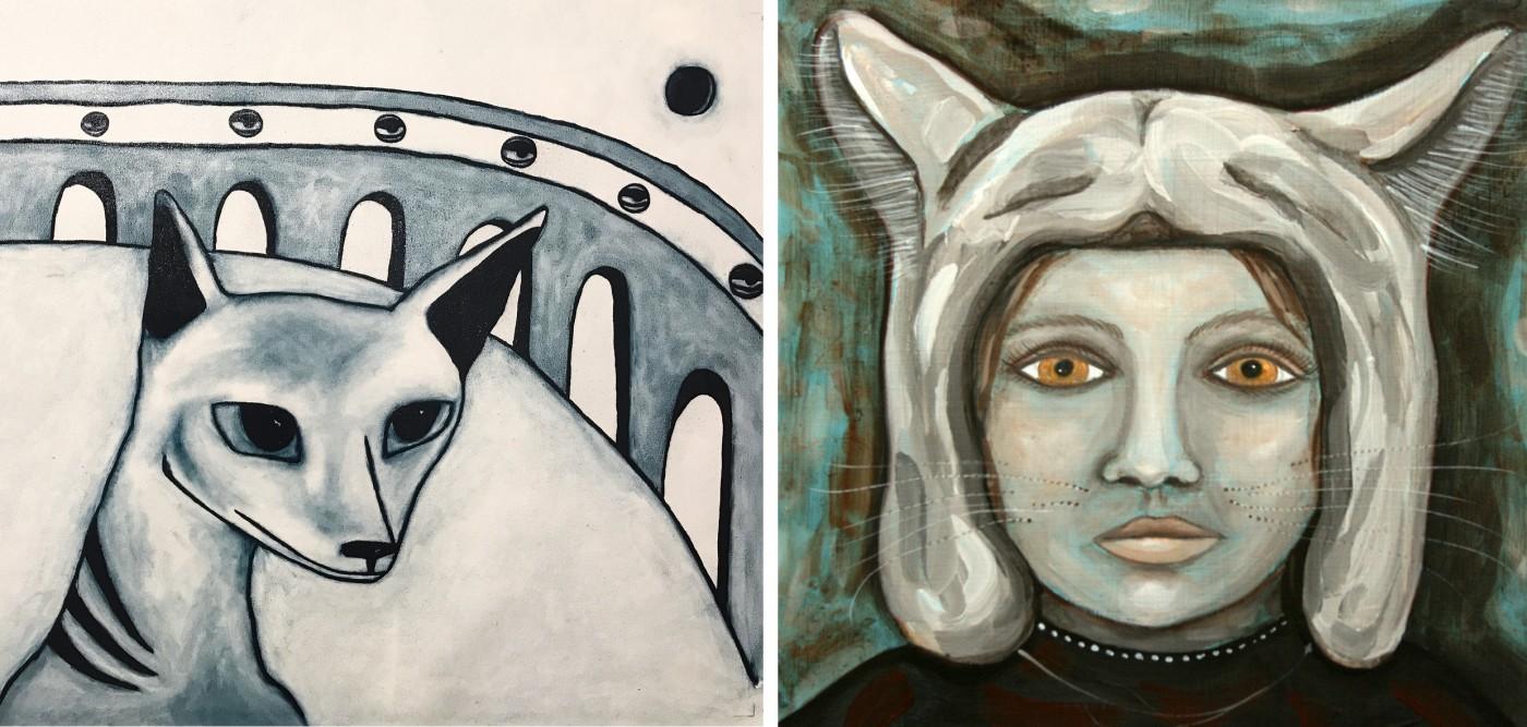 LEFT: BERTIE BLACKMAN Benjamin 2017 oil on canvas 70x50cm signed verso   RIGHT: HELEN HOPCROFT Halloween 2016 Oil on board 25.5 x 25.5 cm Signed verso