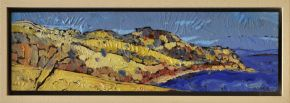 web size Ian Marr Bull Bay Looking North enamel on copper 8.6 x 30 cm