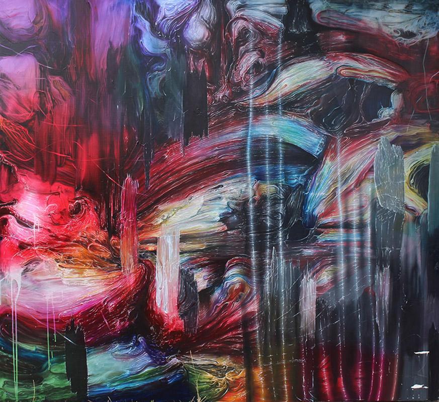 JOSH FOLEY, Underground, 2016, oil & acrylic on linen, 168x183cm,