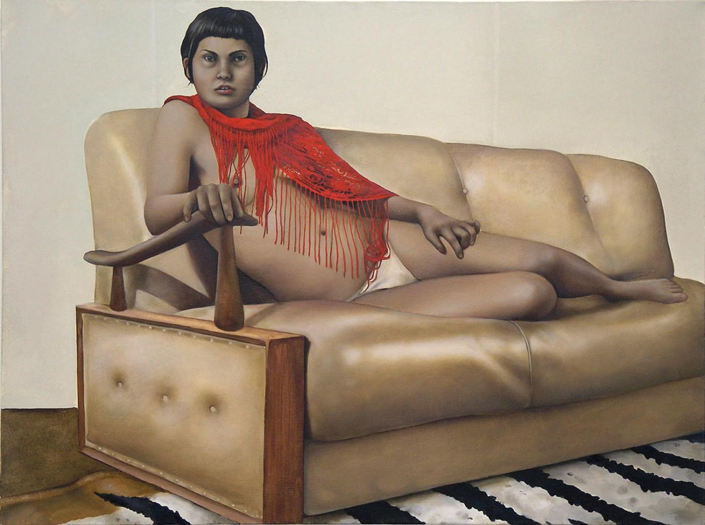ANNIKA KOOPS skin like vinyl 2005 oil on Canvas 99 x 129 cm